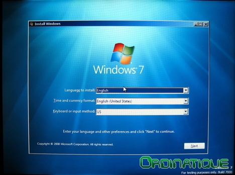 Début de l'installation de Windows Seven