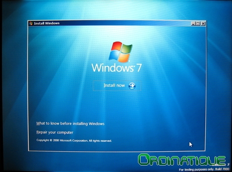 Installation de Windows Seven