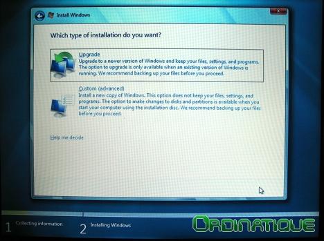 Choix du type d'installation de Windows Seven