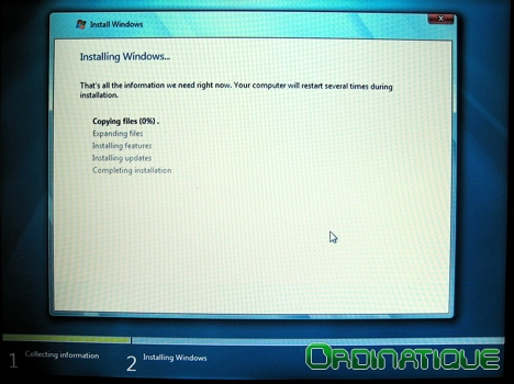 Installation de Windows 7