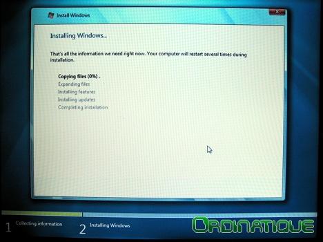 Installation de Windows 7