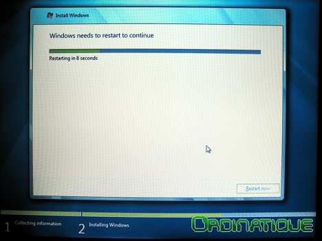 Premier redémarrage de Windows Seven