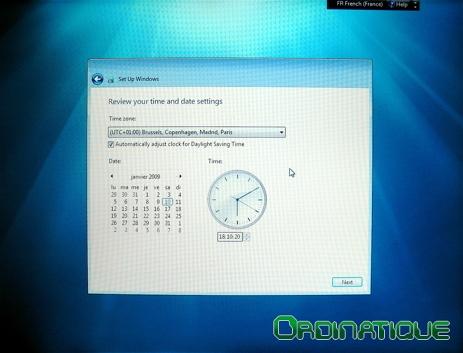Réglage de l'heure Windows Seven