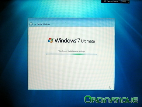 Fin de l'installation de Windows Seven
