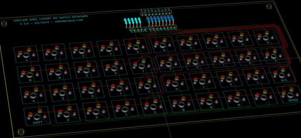 ZX81 Keyboard PCB 3D